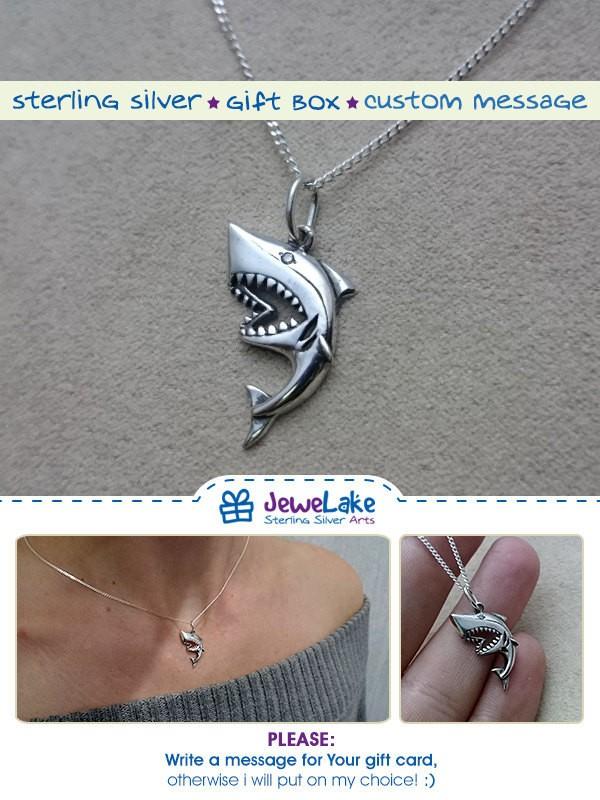 shark week shark birthday shark party shark pendant shark jewelry great white shark shark necklace shark charm shark jaws shark lover gift