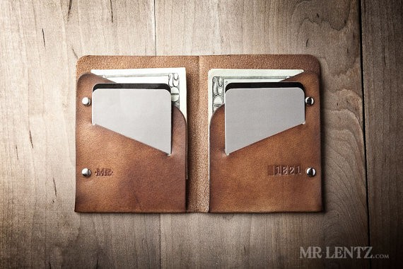 Men's Leather wallet, Men's Wallet, Thin Leather Wallet, Minimal Leather Wallet 005