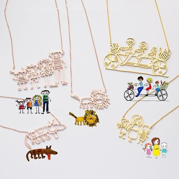Actual kids drawing necklace