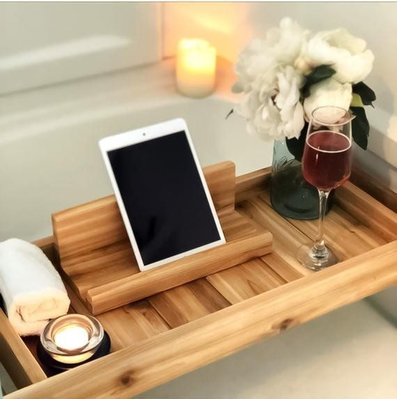 Cedar bath tray with iPad holder
