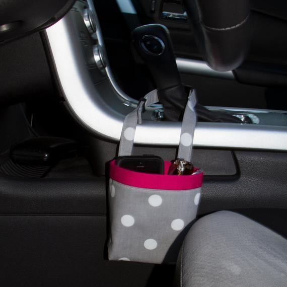 CAR CELLPHONE CADDY Gray and White Polka Dots Cellphone | Etsy