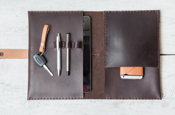 Leather iPad Air 2 / Mini 3 portfolio organizer case wallet. Hand stitched from vegetable tanned full grain premium leather.