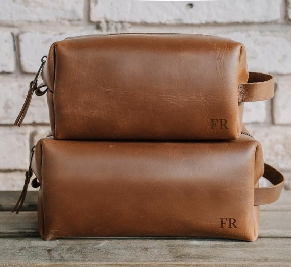 Monogrammed leather dopp kit