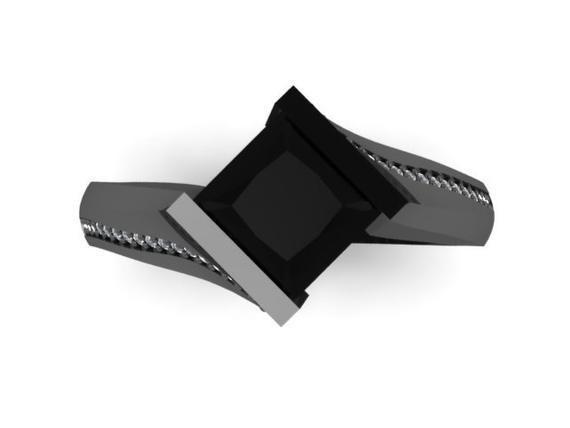Princess Cut Black Diamond Engagement Ring 14k Black Gold Ring | Etsy