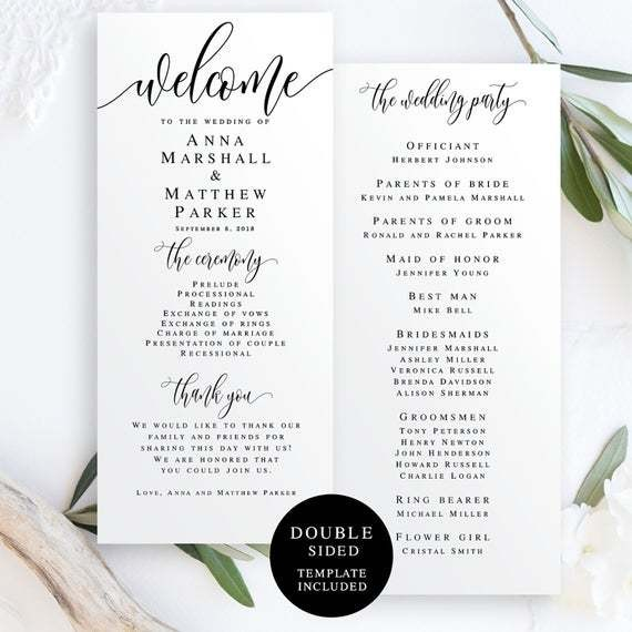Wedding programs instant download Editable template Welcome | Etsy