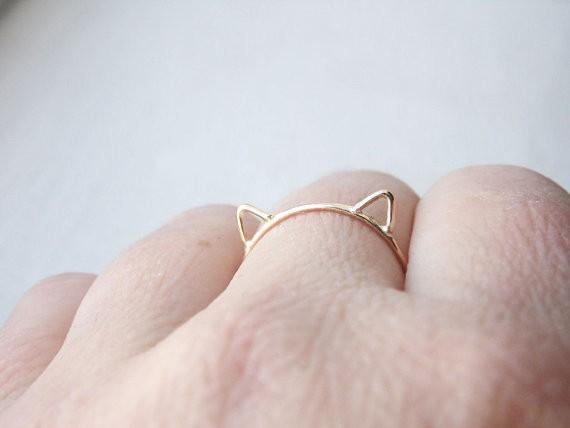 Cat Ears Ring Cat Ring 14k Gold Fill