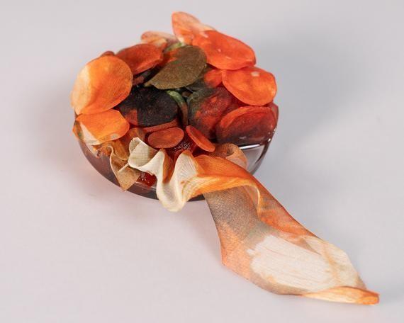Orange Brooch, Statement Brooch, Resin Brooch, Textile Brooch, Brooch Pin Women, Textile Jewelry, Statement Jewelry, Contemporary Jewelry
