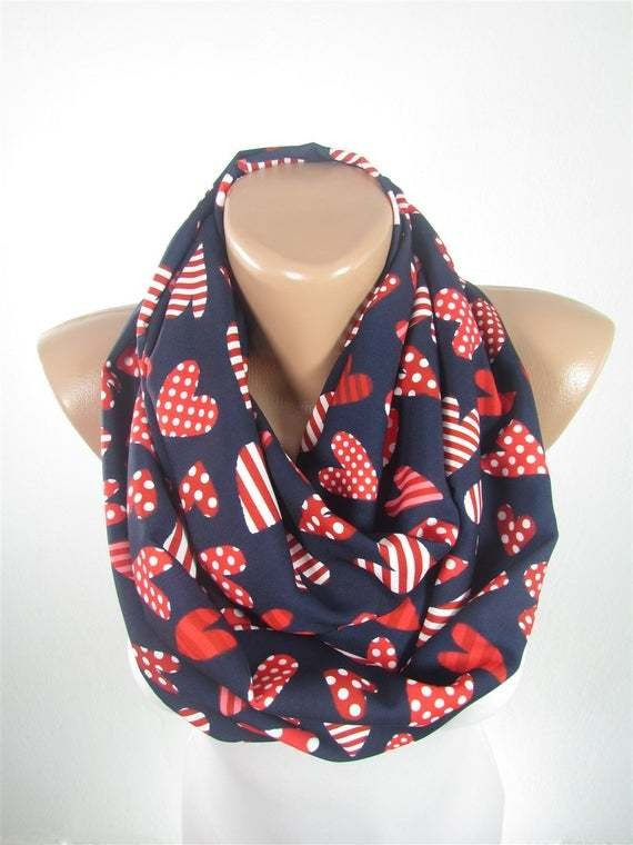 Heart Scarf Infinity Scarf For Women Valentines Gift For Her - Anniversary Gift For Girlfriend Gift For Wife Heart Gifts For Women Gift