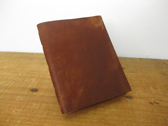 Leather Pocket Notebook/Leather Journal- Hand Stitched, the Pascale