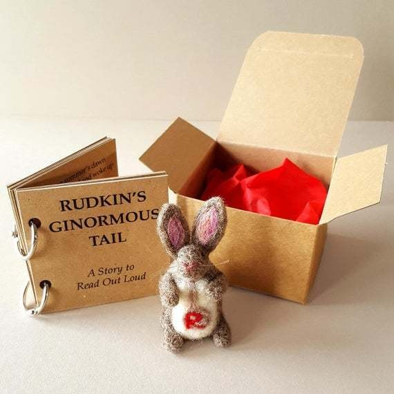 Child's Christmas gift | Bedtime story book | Animal baby shower gifts | New baby keepsake | Read me a story book | Needle felt bunny rabbit