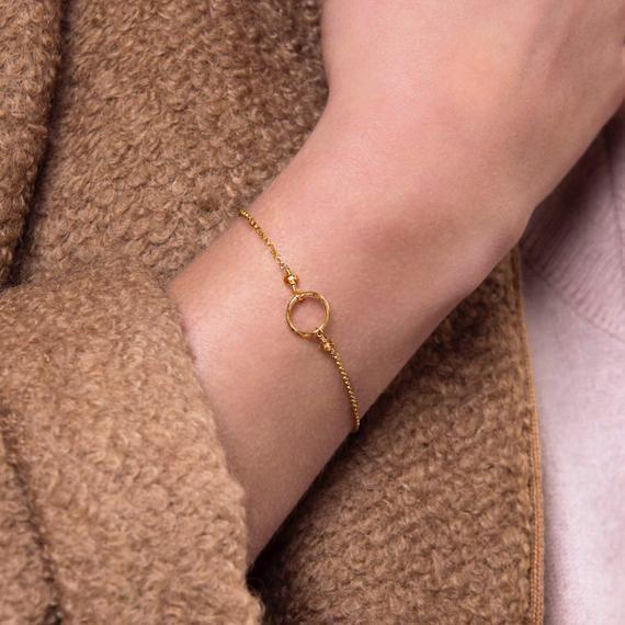 Dainty Circle Bracelet Birthday Gift for Her Luna | Etsy