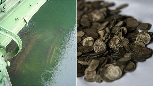 Bridge and gold coins uncovered as Danube sinks to record low in Budapest