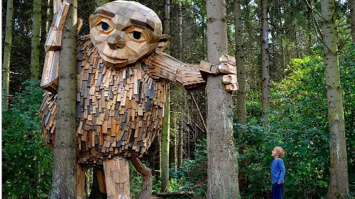 Meet the unusual artist behind this giant recycled sculpture