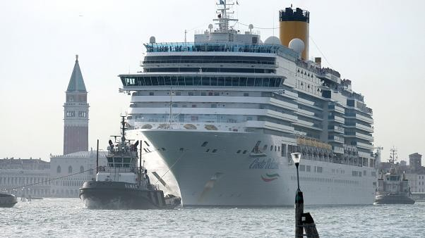 Watch: Venice cruise ship veers close to esplanade in storm