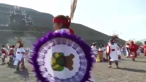 Watch: Pilgrims celebrate spring equinox on Mexico's towering pyramid