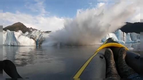 """We survived"" - kayakers flee collapsing glacier"