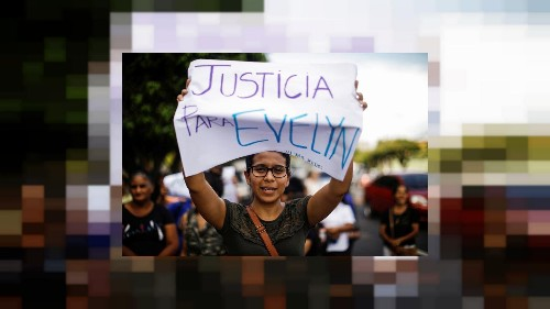 Salvadoran activists hurl confetti, paint to protest new abortion trial
