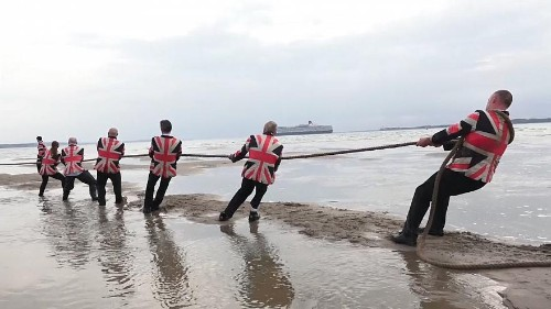 Tug-of-war takes place before island disappears