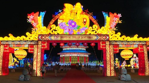 Chinese lanterns light up the world's biggest food park in Bologna