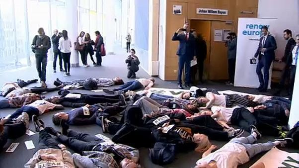Umweltprotest im Europäischen Parlament
