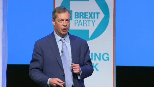 Britain's lead Brexiteer Nigel Farage addresses his new party