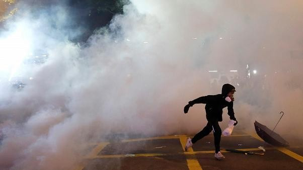 Hong Kong's Chief Executive Carrie Lam gives news conference following violent clashes