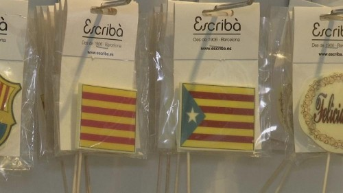 Barcelona patisserie selling cakes with pictures of police chief