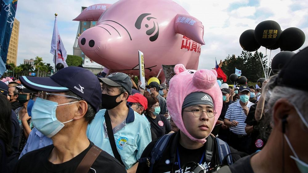 Thousands protest in Taipei over US pork imports