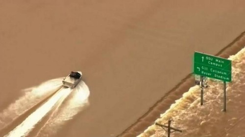 Watch: Speedboat tears up flooded highway in Oregon, US