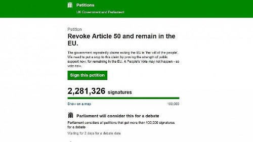 Deux millions de signatures pour la pétition anti-Brexit... en deux jours