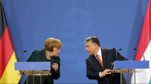 Merkel travels to Hungary to make a stand for European democratic values