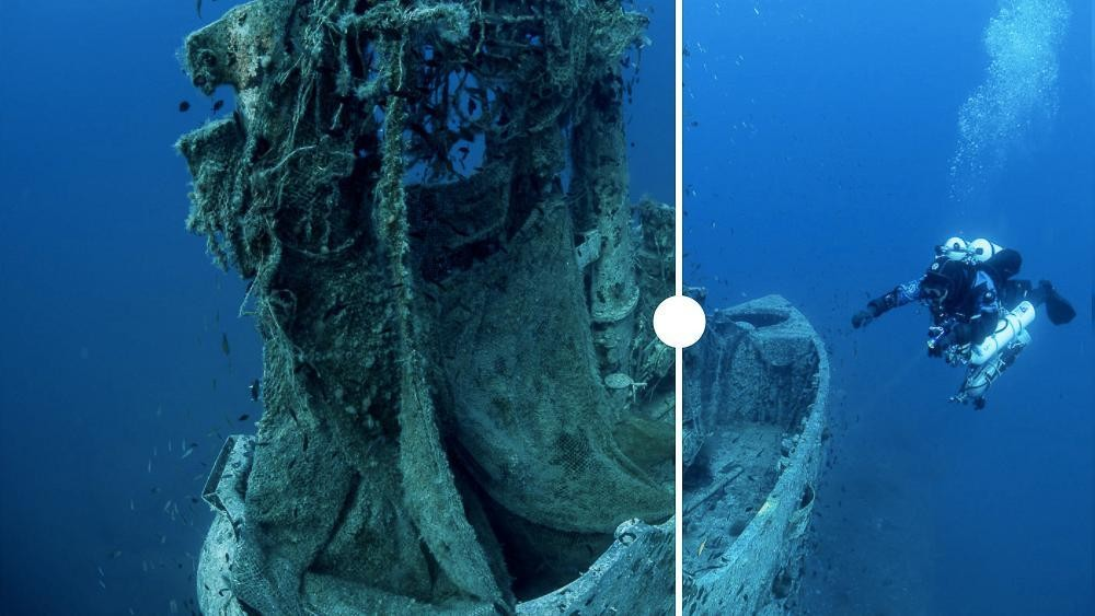 Divers clean 'ghost nets' off old WWII submarine in attempt to save marine life