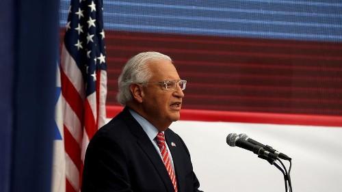 سفير الولايات المتحدة يدعم سيطرة إسرائيل الأمنية على الضفة الغربية بموجب صفقة سلام