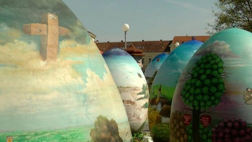 Watch: Giant handpainted Easter eggs unveiled in Croatian town