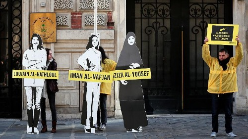 Amnesty protests in front of Saudi embassy in Paris on International Women's Day