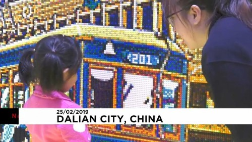 Chinese artist creates giant image made up of 80,000 Lego pieces