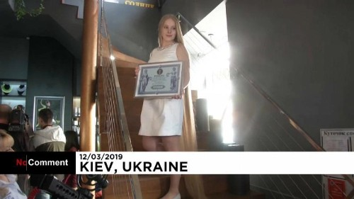 "Ukrainian ""Rapunzel"" breaks a record for her long blonde hair"