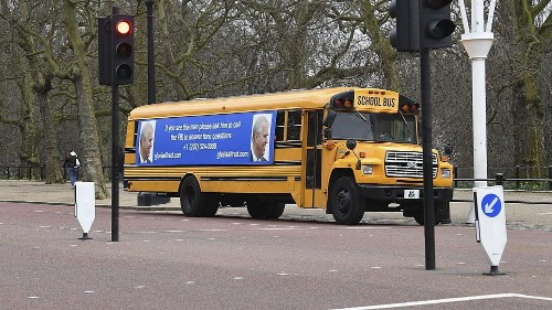 Prince Andrew urged to 'call the FBI' about Jeffrey Epstein on London bus sign