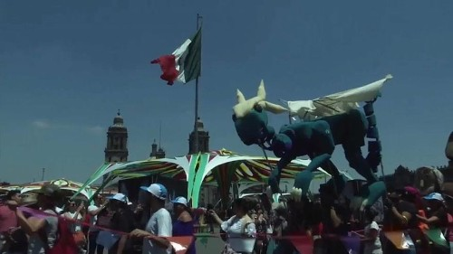 Watch: Green dragons and dancing monkeys on parade for World Puppetry Day