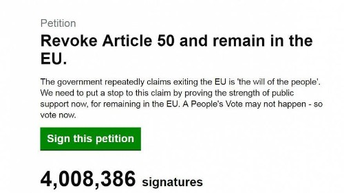 Brexit: Petition to remain in the EU tops 4 million signatures