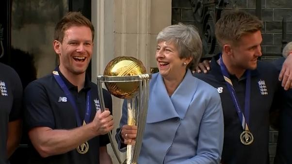Watch: May welcomes England cricket team to Downing Street after World Cup triumph