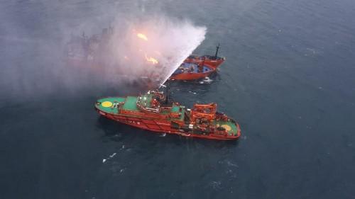 10 dead, 10 missing, after two ships catch fire in Kerch Strait
