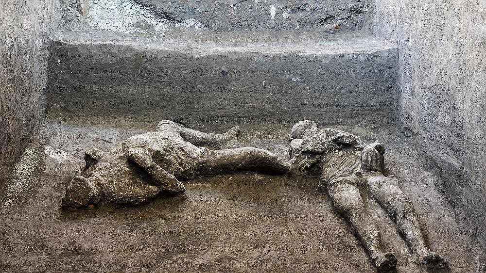 Bodies of 'rich man' and his 'male slave' unearthed from ashes at Pompeii excavation