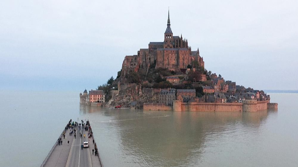 Mont-Saint-Michel becomes an island during high tides