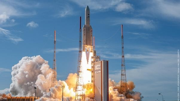 European Space Agency launches latest satellite into space on Ariane 5 rocket from French Guiana