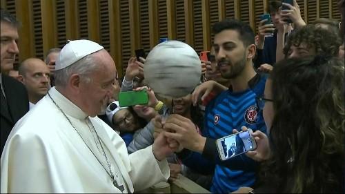 Vatican hall becomes impromptu stadium as Pope talks soccer to children