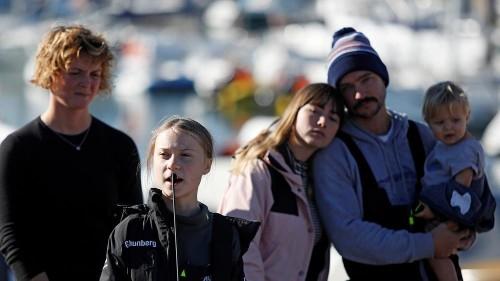 Greta Thunberg arrives in Lisbon after Atlantic crossing