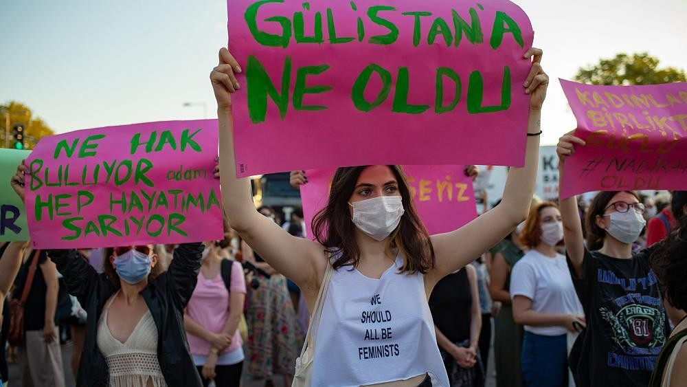 Protests in Turkey over possible withdrawal from treaty preventing domestic violence