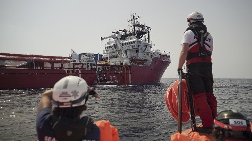 Ocean Viking is seeking a safe port for 223 migrants rescued from the Mediterranean