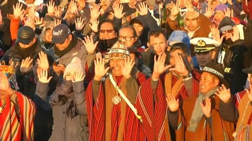 Indigenous Bolivians celebrate Winter Solstice